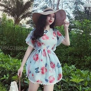 Dresses & Skirts - Japanese Fashion Floral Design Blue Jumpsuit Dress